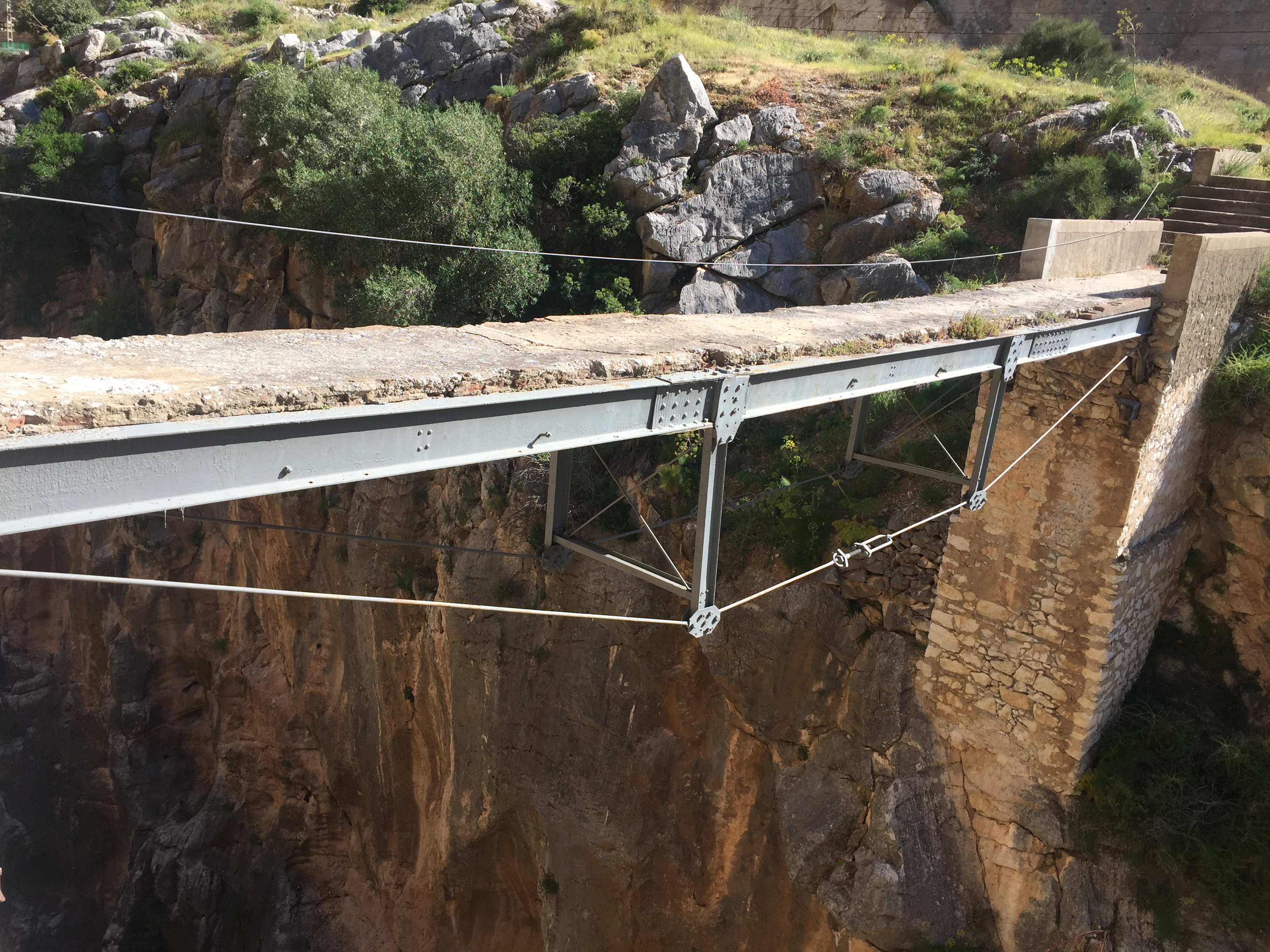 sections of the old caminito del rey still remain like this bridge